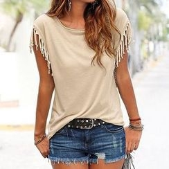 Flobo - Short-Sleeve Fringe-Trim Top