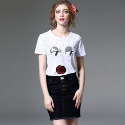 Y:Q - Sequined Perforated Short-Sleeve T-Shirt