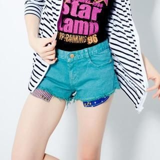 CUTIE FASHION - Flag-Print Fray-Hem Shorts