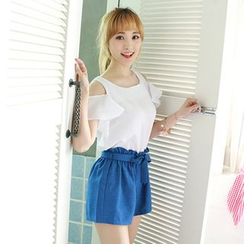 Dodostyle - Linen Blend Paperbag-Waist Shorts