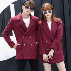 Igsoo - Couple Matching Woolen Lapel Coat