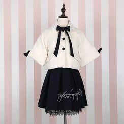 GOGO Girl - 七分袖蝴蝶結夾克 / 打褶襉裙 / 打褶襉中裙
