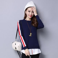 Romantica - Inset Shirt Striped Knit Top