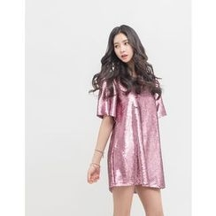 GUMZZI - Sequined Shift Minidress