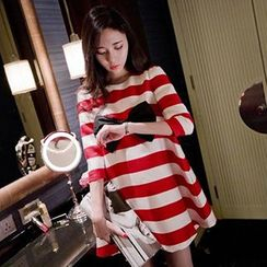 Fashion Street - Maternity Bow Stripe Elbow-Sleeve Dress
