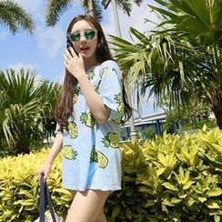 Hotpink - Short-Sleeve Pineapple Print T-Shirt