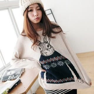 BAIMOMO - Rabbit Print Sweater