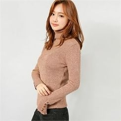 Styleberry - Turtle-Neck Buttoned Rib-Knit Top