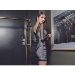 UUZONE - Sheer Sleeve Shirred Dress