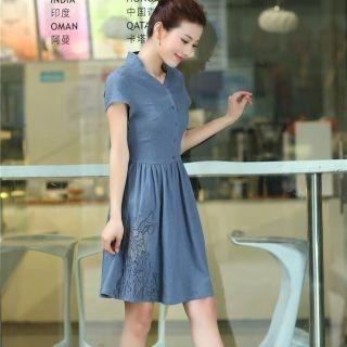 Mooiee - Tie-Waist Button-Up A-Line Dress