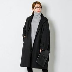 FASHION DIVA - Funnel-Neck Single-Breasted Long Coat