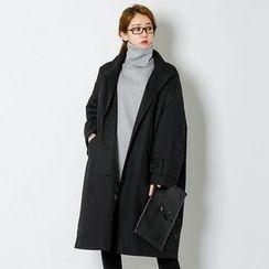 FASHION DIVA - Funnel-Neck Single-Breasted Long Coat