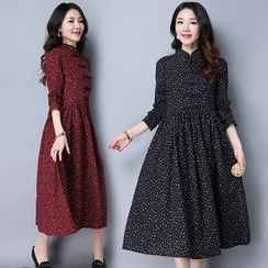 Yeeya - Long-Sleeve Floral A-line Midi Dress
