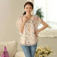 Styleonme - Printed Bat-Wing Sleeve Chiffon Blouse