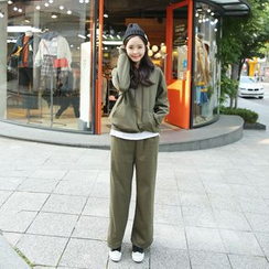 Envy Look - Set: Layered-Hem Hooded Pullover + Fleece-Lined Sweatpants