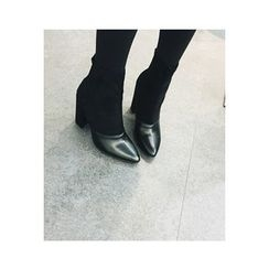 ATTYSTORY - Pointy-Toe Faux-Suede Booties