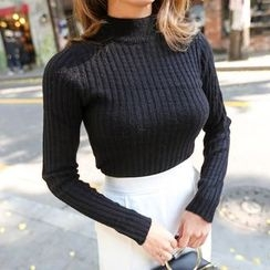 PPGIRL - Mock-Neck Ribbed Knit Top
