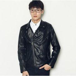 Consto - Faux Leather Biker Jacket