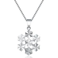 MaBelle - 14K White Gold Filigree Snowflake with Diamond Cut Necklace (16'')