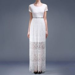 AIXI - Short-Sleeve Sheath Lace Evening Gown