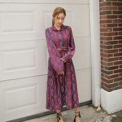 Cherryville - Patterned Long Shirtdress with Belt