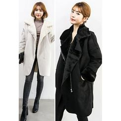 INSTYLEFIT - Faux-Shearling Zip-Up Coat