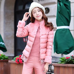 Romantica - Set: Faux-Fur-Trim Padded Jacket + Top + Pants