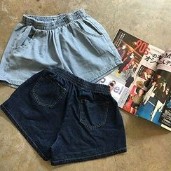 Glen Glam - High-Waist Denim Shorts