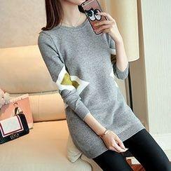 Ageha - Color Block Long Sweater