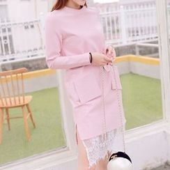 Athena - Long-Sleeve Lace-Hem Belted Dress