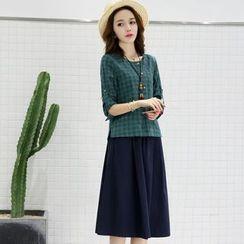 NINETTE - Set: Plaid Blouse + Skirt