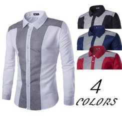 Hansel - Gingham Panel Long-Sleeve Shirt
