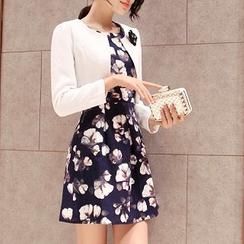 Everose - Set: Cropped Jacket + Floral Tank Dress