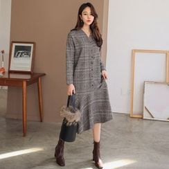 PPGIRL - V-Neck Checked Long Dress