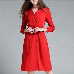 Rosesong - Double Breasted Long Sleeve Coatdress