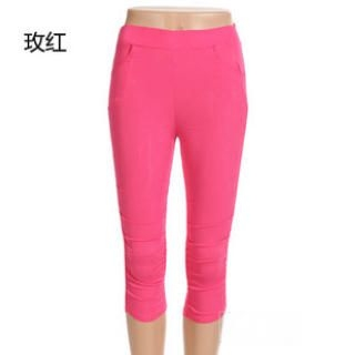Ando Store - Band-Waist Shirred Cropped Leggings