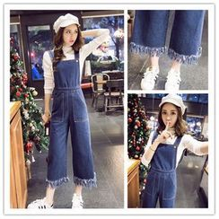 Oaksa - Fringed Cuff Cropped Denim Dungaree