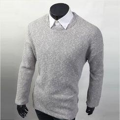 WIZIKOREA - Crewneck Ribbed T-Shirt