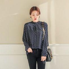 Seoul Fashion - Dot-Pattern Chiffon Blouse
