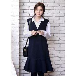 DEEPNY - V-Neck Ruffle-Hem Mock Two-Piece Dress