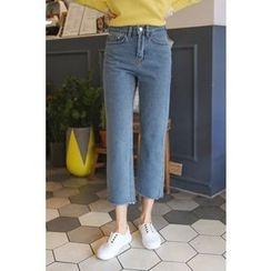 PPGIRL - Fray-Hem Straight-Cut Jeans