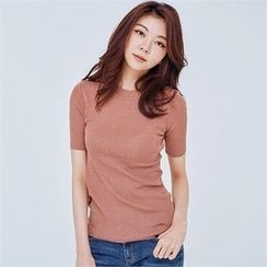 MAGJAY - Round-Neck Short-Sleeve Knit Top