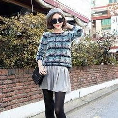 HStyle - Set: Plaid Furry-Knit Top + A-Line Skirt