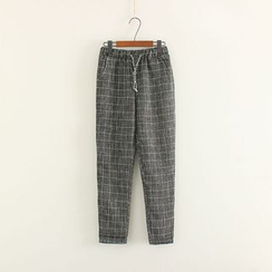 Mushi - Drawstring Waist Check Pants