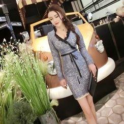 Gl.bY - Long-Sleeve V-neck Sheath Dress