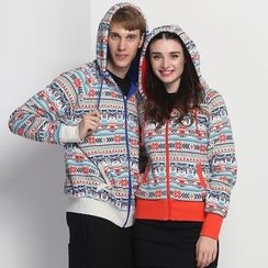 HappyTee - Patterned Couple Hooded Jacket