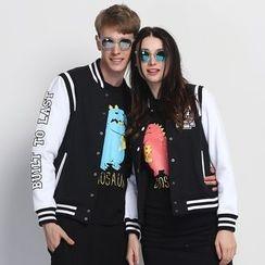 HappyTee - Applique Couple Baseball Jacket