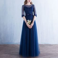 Luxury Style - Elbow-Sleeve Lace Panel Evening Gown