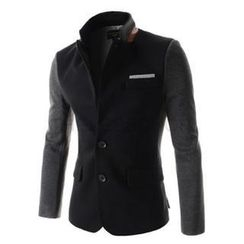 SEOBEAN - Mandarin-Collar Single-Breasted Blazer