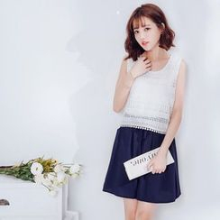 Tokyo Fashion - Lace Panel Sleeveless Mock Two-Piece Dress